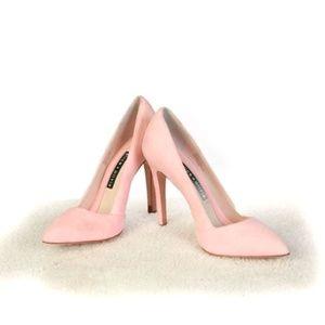 New Alice + Olivia Pink Suede Heels 6.5 AA